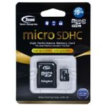Team 16GB Class 10 MicroSDHC Flash Card with SD Card Adapter Class