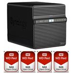 Synology DS418j 4 Bay NAS + 4x WD WD40EFRX 4TB Red NAS HDD