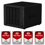 Synology DS418 4 Bay NAS + 4x WD WD40EFRX 4TB Red NAS HDD