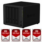 Synology DS918+ 4 Bay NAS + 4x WD WD100EFAX 10TB Red NAS HDD