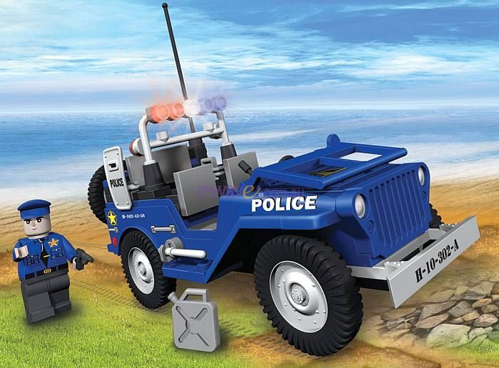action town 100 piece willys mb jeep police patrol car cob1529. Black Bedroom Furniture Sets. Home Design Ideas
