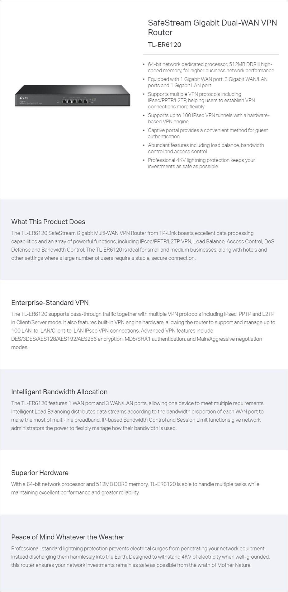 TP-LINK TL-ER6120 Safestream Gigabit Dual-Wan VPN Router - Overview 1