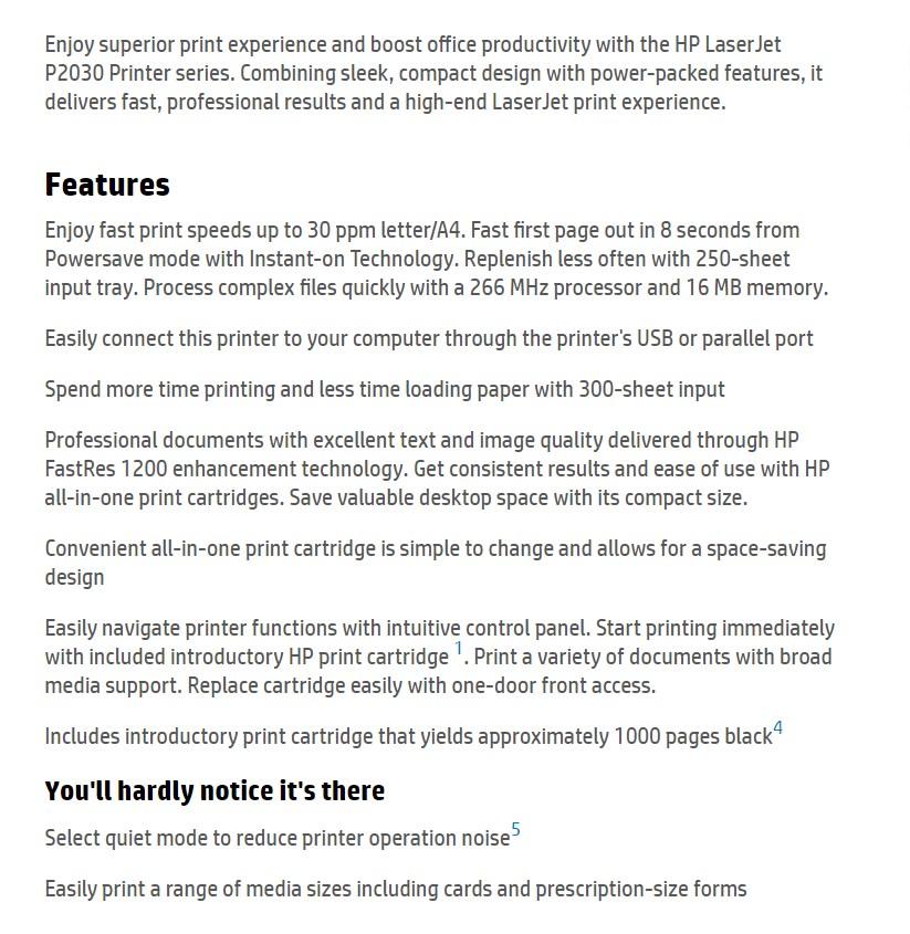 HP LaserJet P2035 Monochrome Laser Printer - Desktop Overview 1