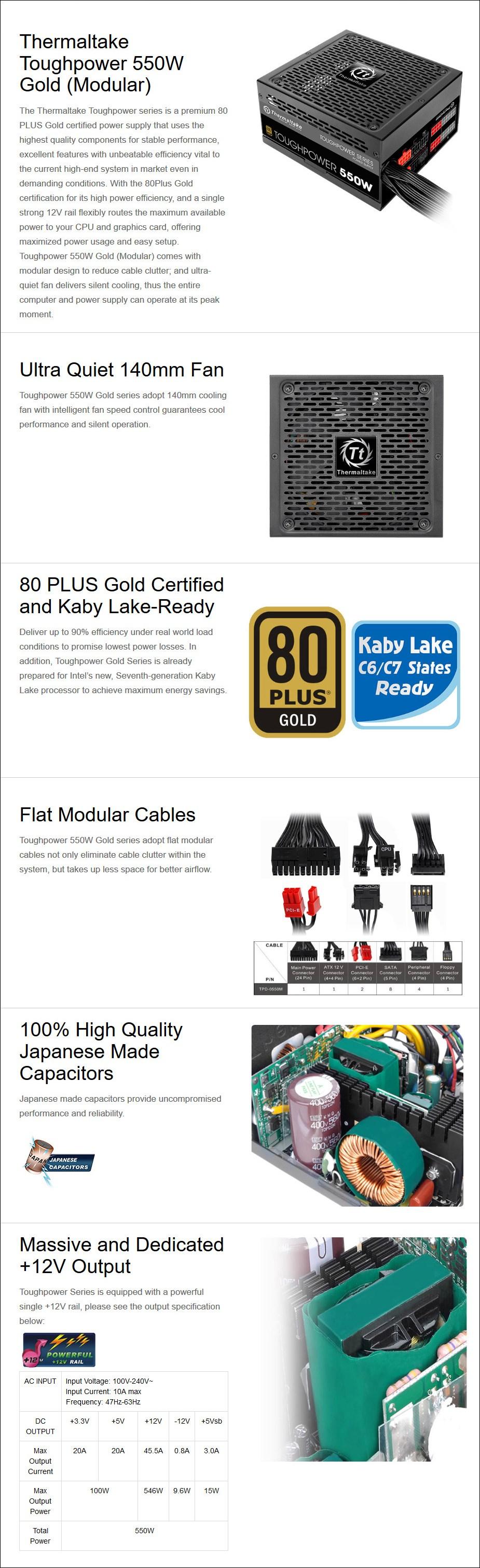 Thermaltake Toughpower GOLD 550W Modular Power Supply - Desktop Overview 1