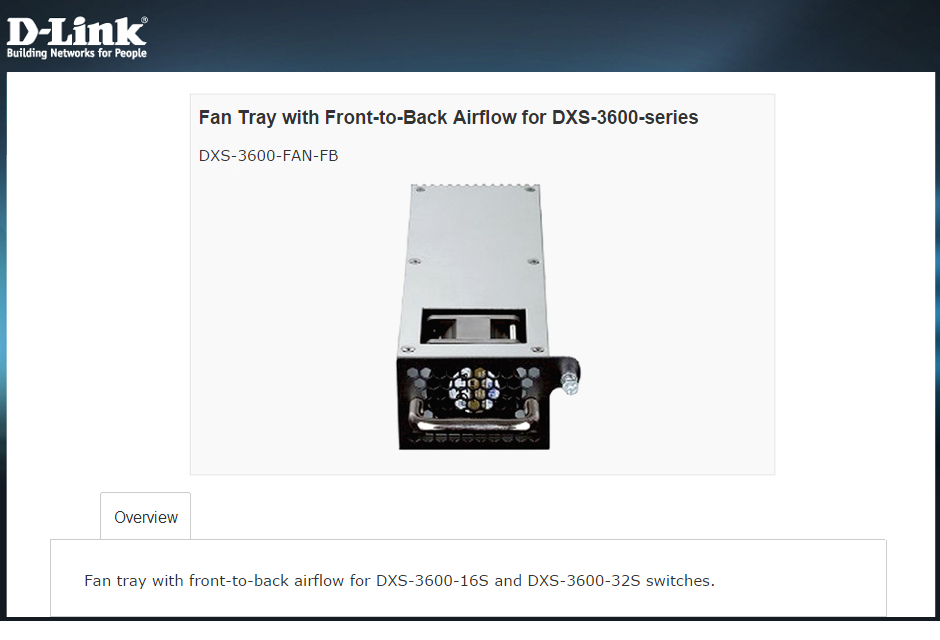 D-Link DXS-3600-FAN-FB Overview
