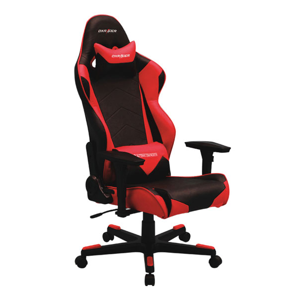 dxracer racing series gaming chair, neck/lumbar support - black