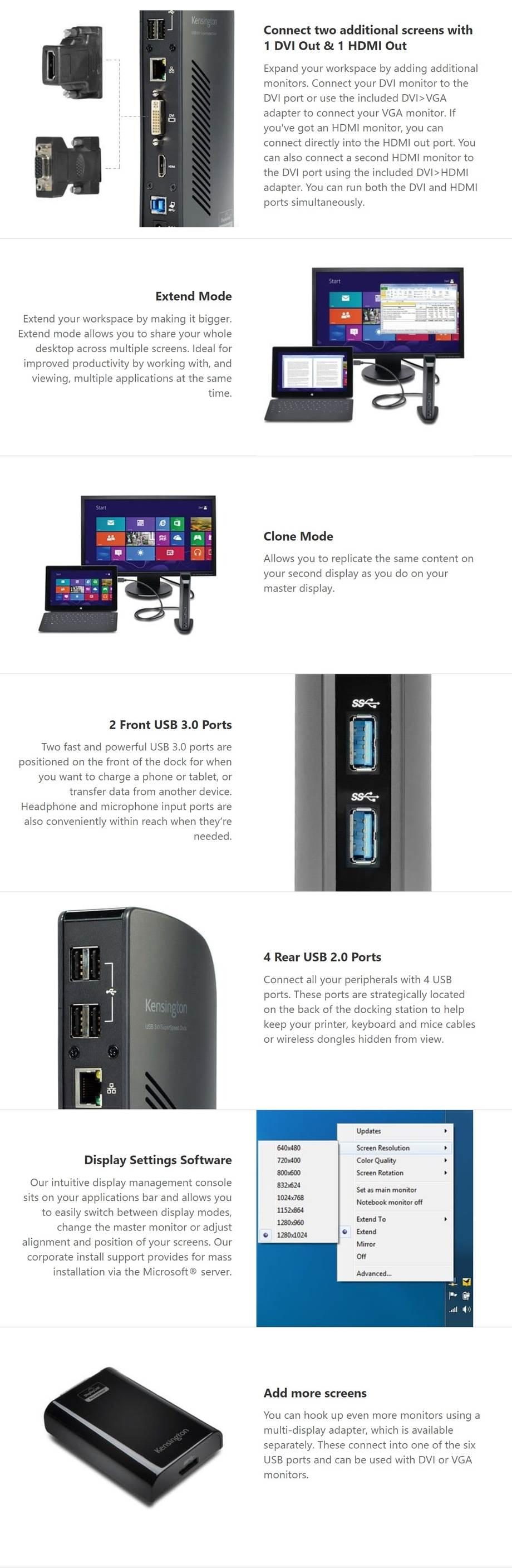 Kensington SD3500V USB 3 0 Docking Station with Dual DVI/HDMI/VGA Video
