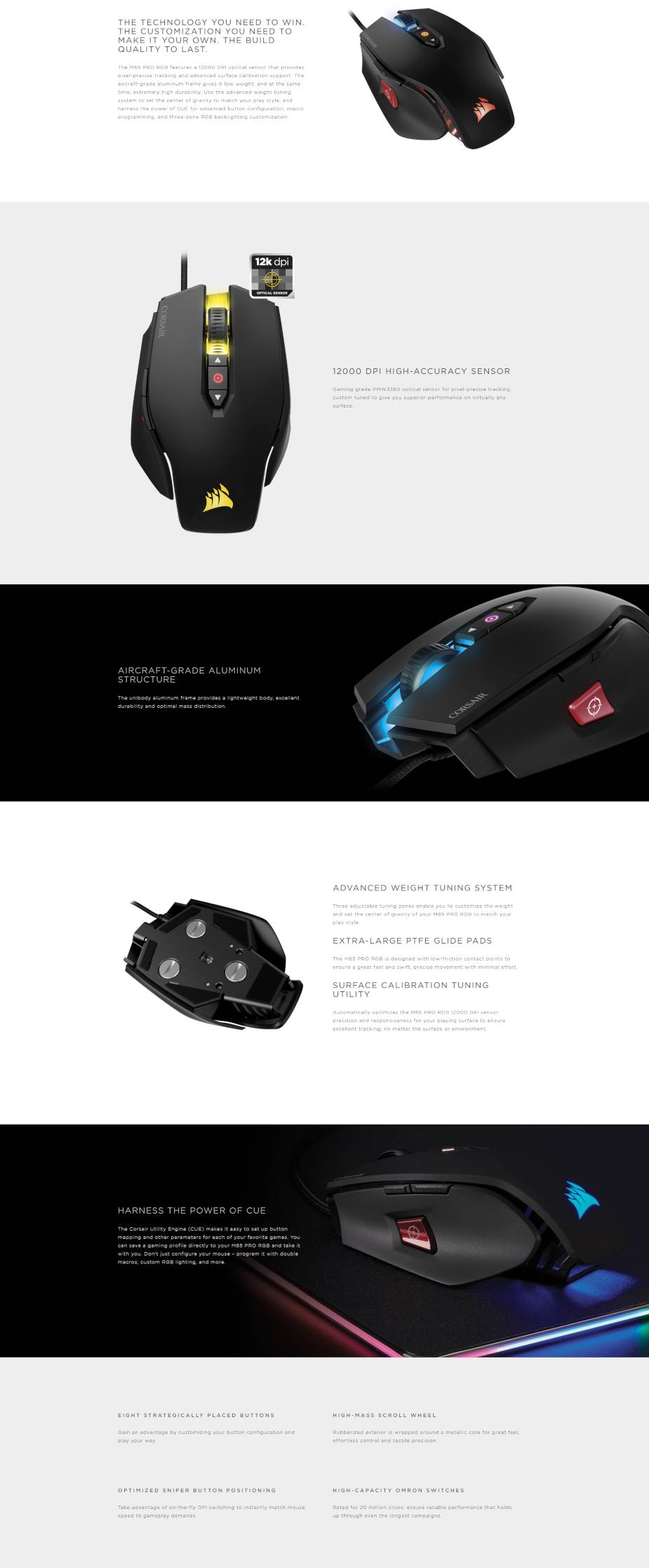 387563fe42b Corsair Gaming M65 Pro RGB FPS Optical Gaming Mouse - Black - Overview