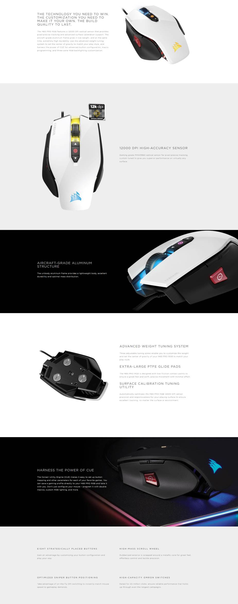 Corsair Gaming M65 Pro RGB FPS Optical Gaming Mouse - White - Overview