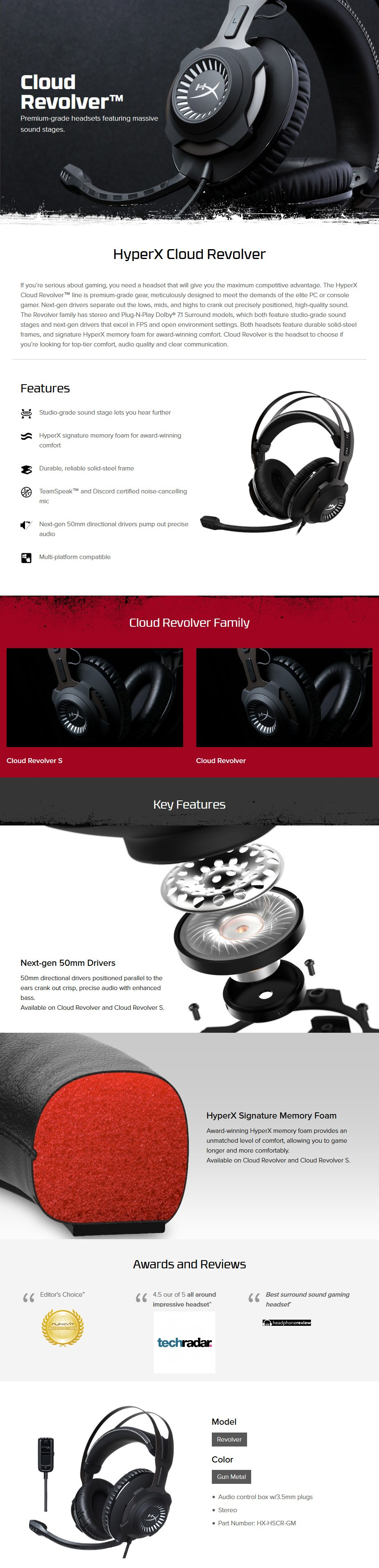 HyperX Cloud Revolver Gaming Headset - Black Display Overview 1