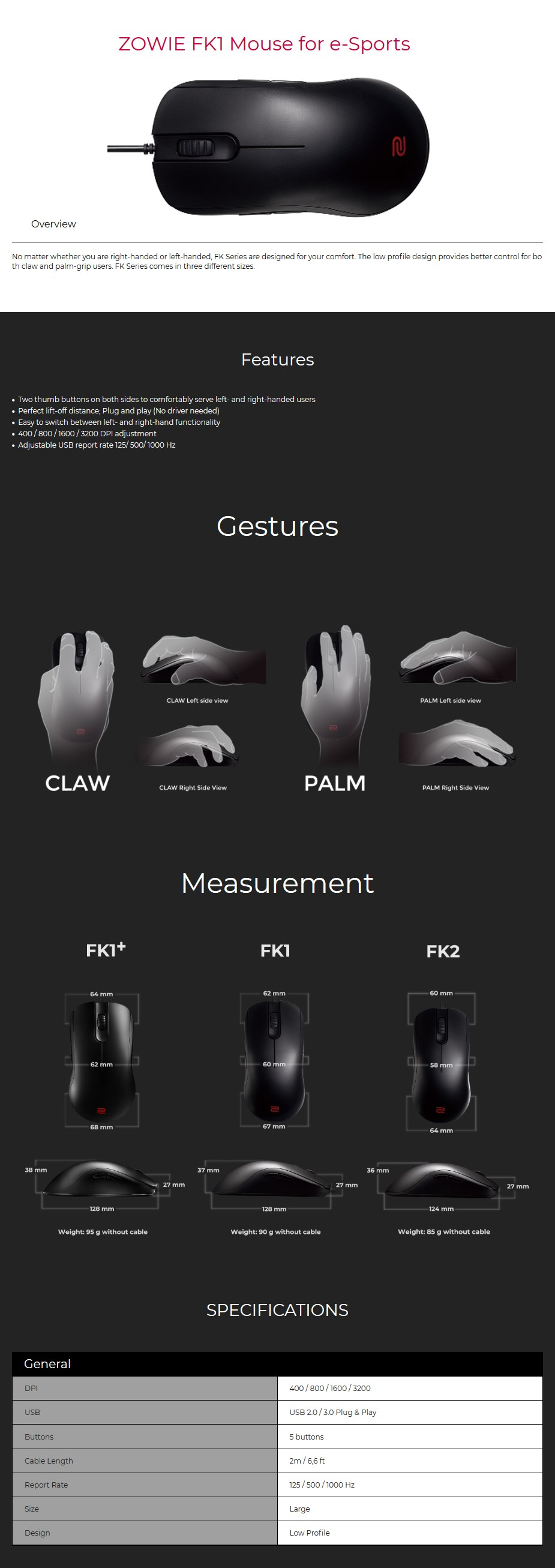 BenQ ZOWIE FK1 Gaming Mouse Display Overview 1