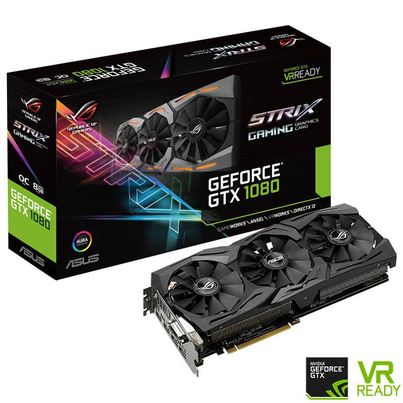 ASUS GeForce GTX 1080 ROG Strix Gaming OC 8GB Video Card
