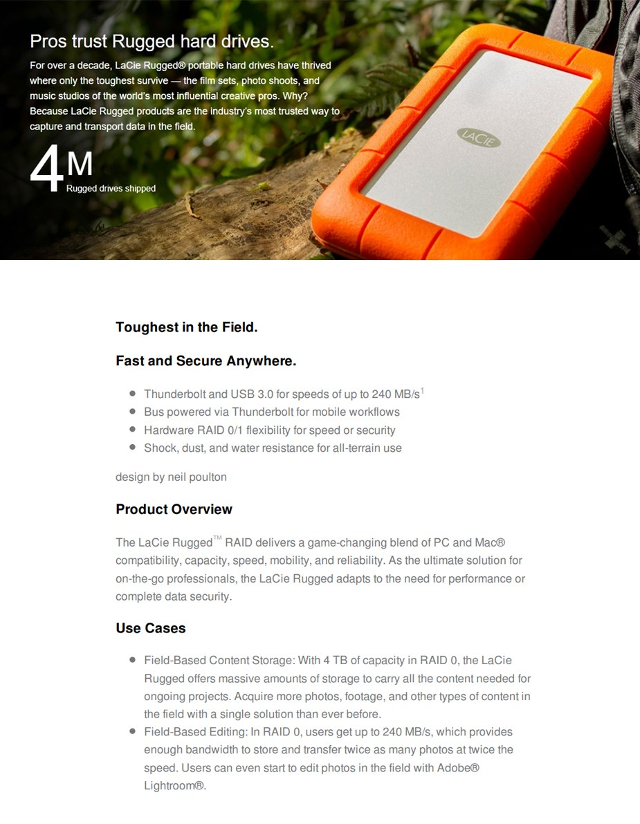LaCie 4TB Rugged RAID USB 3.0 Portable HDD with Integrated Thunderbolt Cable - Desktop Overview 1