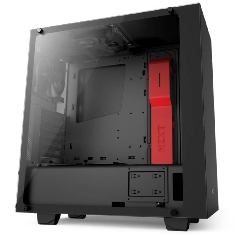 NZXT Source S340 Elite ATX Mid-Tower Case - Matte Black/Red