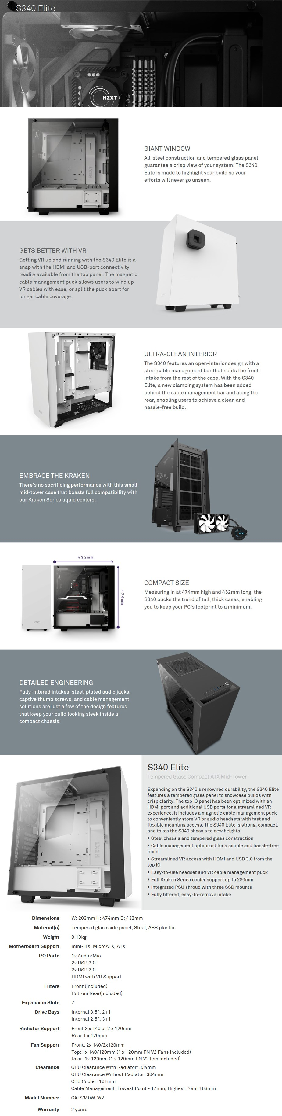 NZXT Source S340 Elite Tempered Glass Mid-Tower ATX Case - Matte White - Desktop Overview 1