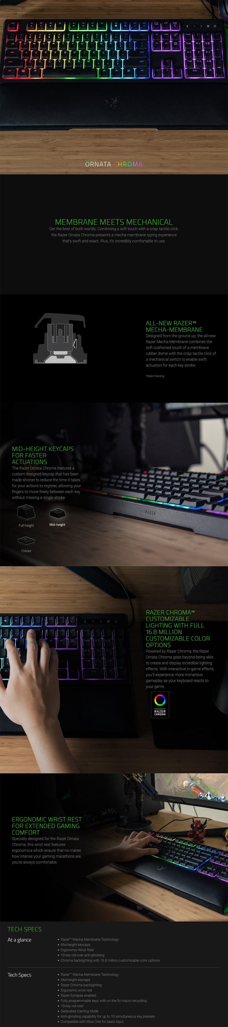 Razer Ornata Chroma Membrane Mechanical Gaming Keyboard - Overview 1