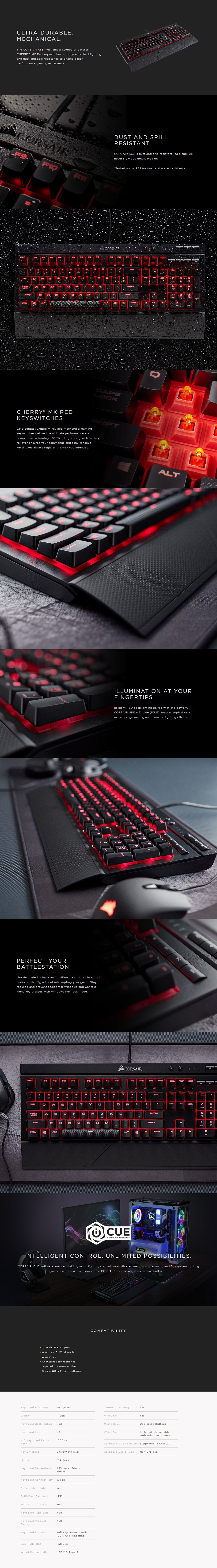 Corsair Gaming K68 Spill Resistant Mechanical Gaming Keyboard - Cherry MX Red - Overview 1