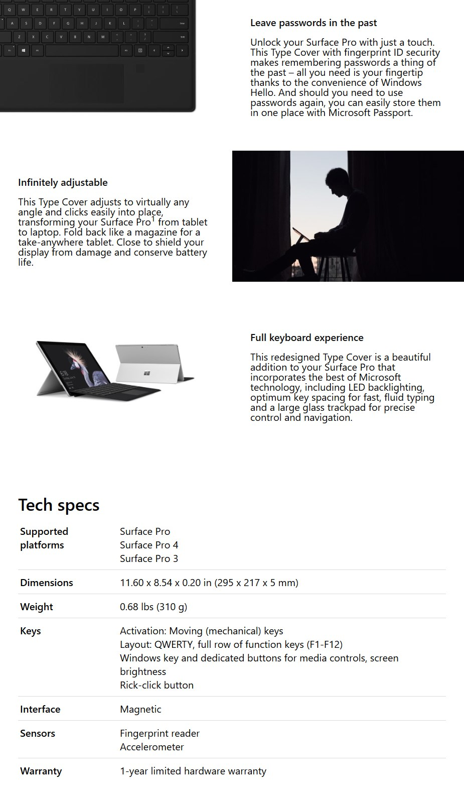 Microsoft Surface Pro Type Cover with Fingerprint ID - Black Comm - Desktop Overview 1