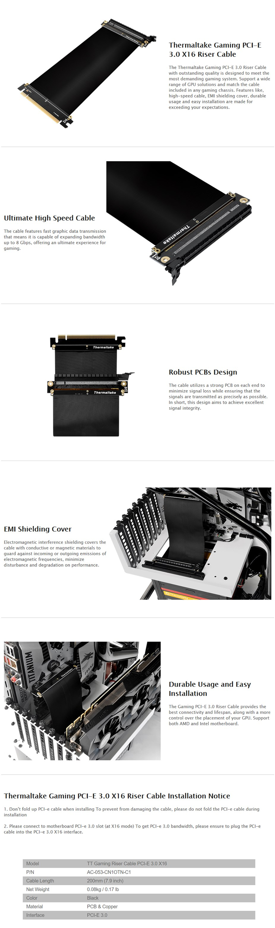 Thermaltake Core P5 PCI-Express x16 3.0 Riser Cable - Desktop Overview 1