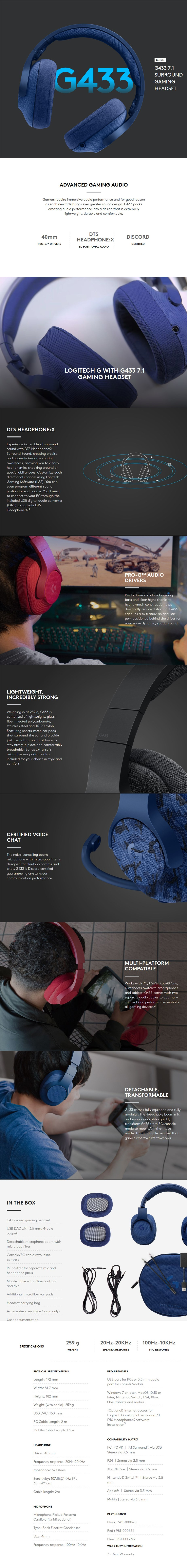 Logitech G433 7.1 Surround Wired Gaming Headset - Black Display Overview 1