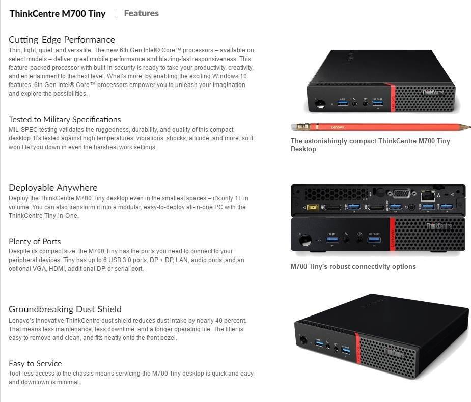 Lenovo M700 Tiny SFF Desktop PC i5-6400T 16GB 256GB SSD Win10 Pro