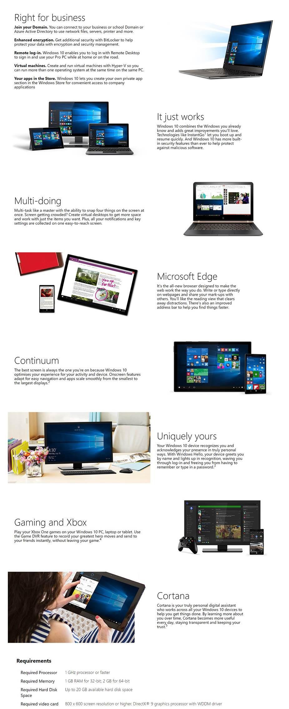 Microsoft Windows 10 Professional 32bit/64bit - Digital Download - Desktop Overview