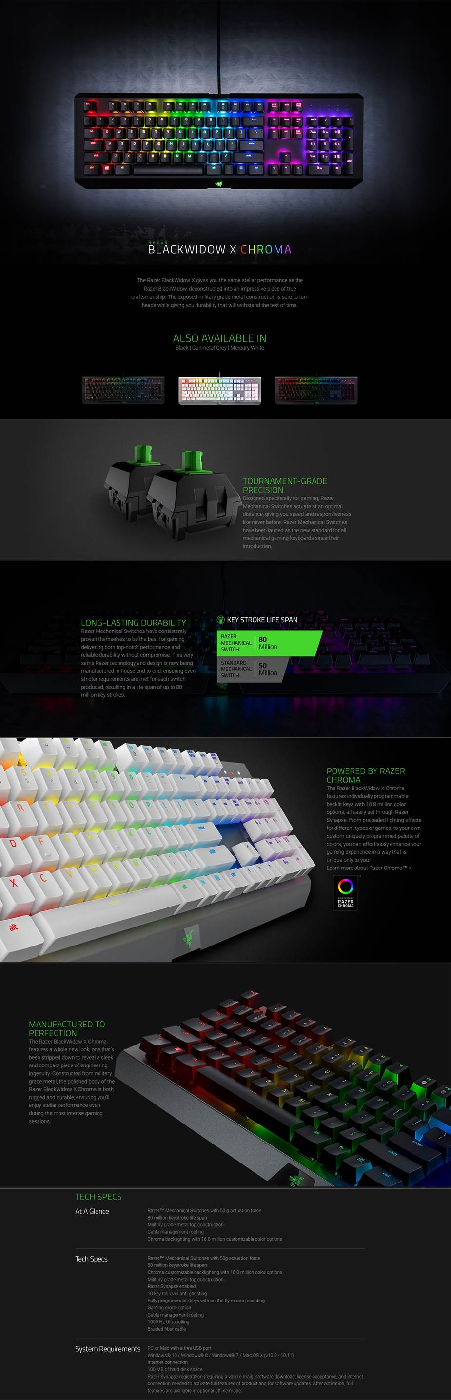 Razer Blackwidow X Chroma Mechanical Gaming Keyboard - Gunmetal Edition