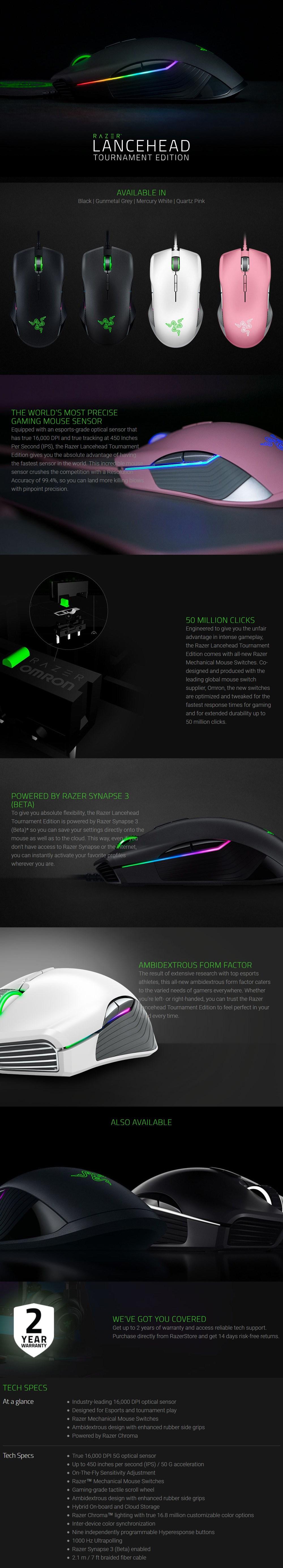 Razer Lancehead Tournament Edition Ambidextrous Gaming Mouse - Quartz Edition - Desktop Overview 1