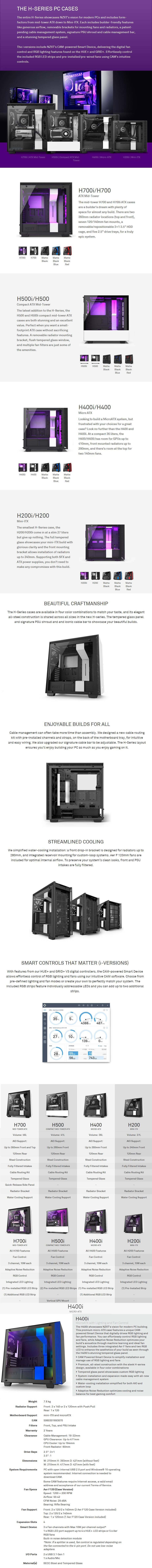 NZXT H400i Smart Tempered Glass Mid-Tower Micro-ATX Case - Matte Black/Blue - Desktop Overview 1