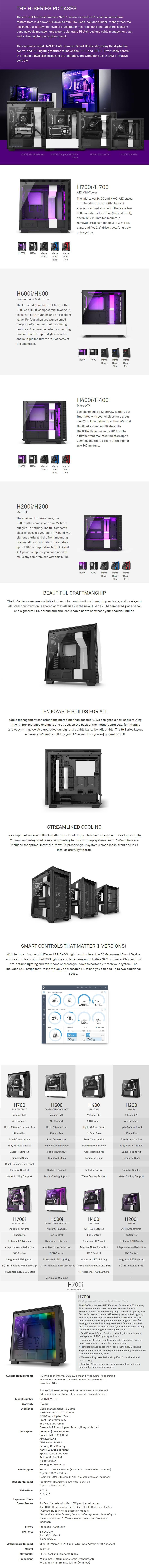 NZXT H700i Smart Tempered Glass Mid-Tower E-ATX Case - Matte Black - Desktop Overview 1