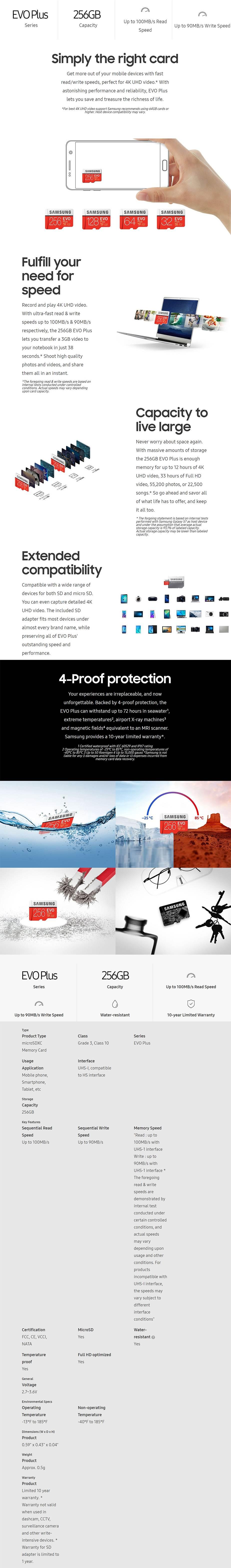 Samsung 256GB microSDXC EVO Plus UHS-I Class 10 Memory Card - 100MB/s - Desktop Overview 1