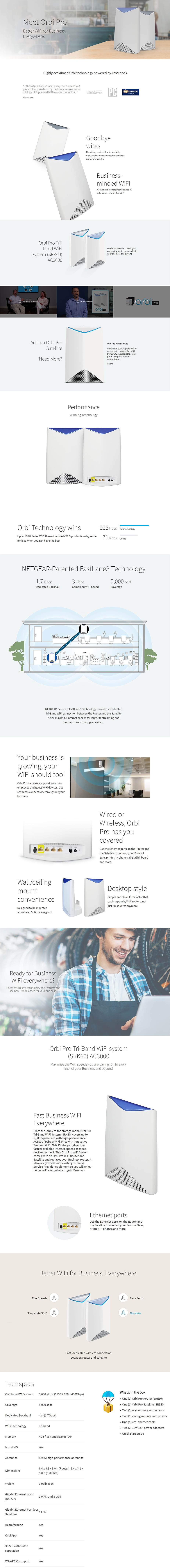 Netgear Orbi Pro SRK60 AC3000 Tri-band WiFi Router and Satellite System