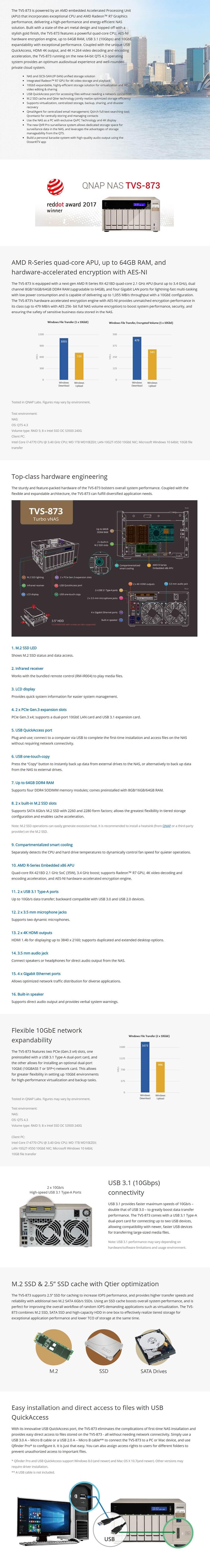 QNAP TVS-873-8G 8-Bay Diskless NAS - AMD RX-421BD Quad Core CPU 8GB