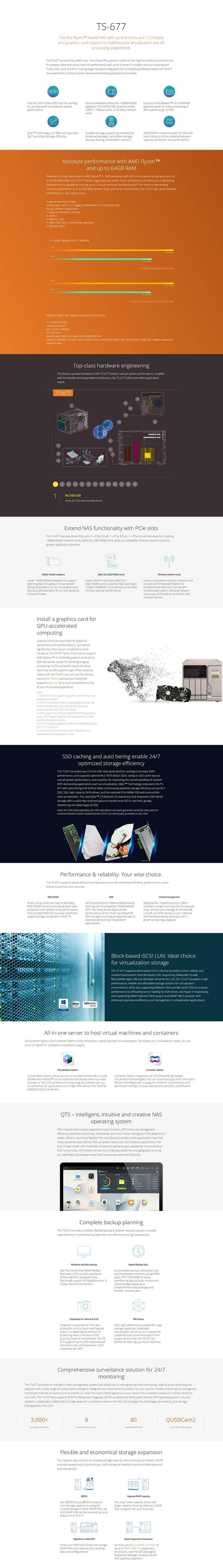 QNAP TS-677-1600-8G 6-Bay Diskless NAS - AMD Ryzen 5 1600 6-Core CPU 8GB - Desktop Overview 1