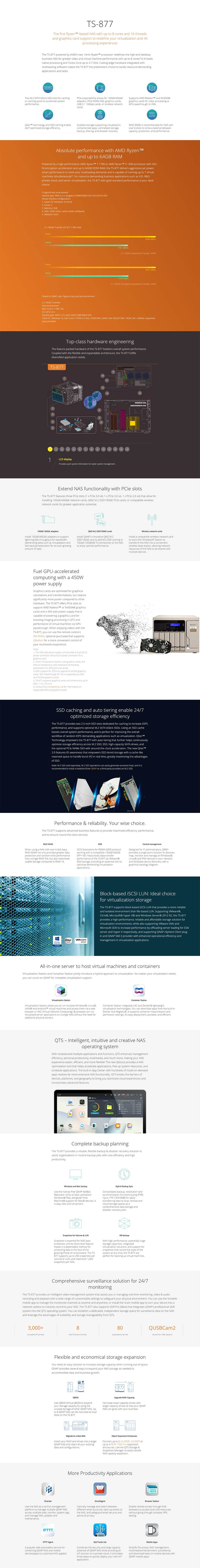 QNAP TS-877-1600-8G 8-Bay Diskless NAS - AMD Ryzen 5 1600 6-Core CPU 8GB - Desktop Overview 1