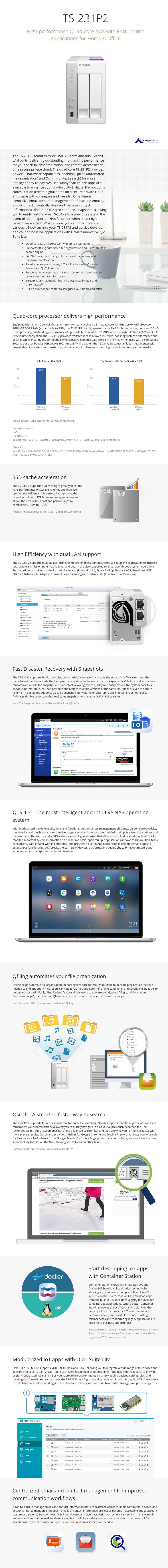 QNAP TS-231P2-4G 2 Bay Diskless NAS Alpine AL-314 Quad Core 1.7GHz CPU 4GB RAM - Desktop Overview 1