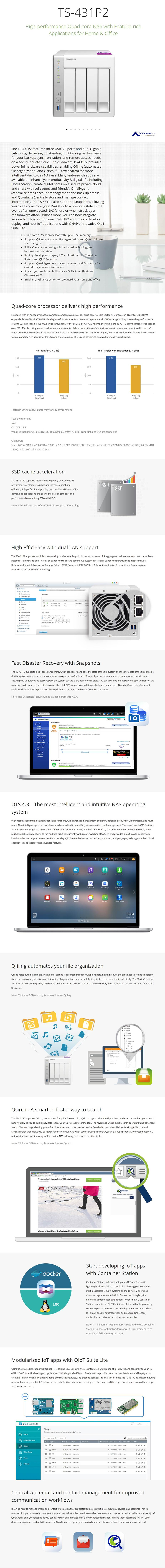 QNAP TS-431P2-4G 4 Bay Diskless NAS Alpine AL-314 Quad Core 1.7GHz CPU 4GB RAM - Desktop Overview 1