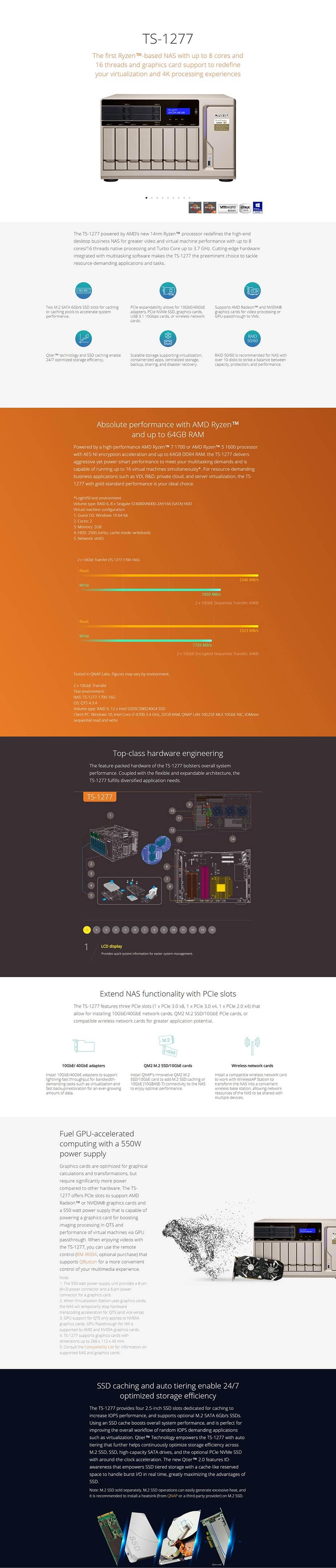 QNAP TS-1277-1600-8G 12 Bay Diskless NAS AMD Ryzen 5 1600 CPU 8GB RAM - Desktop Overview 1