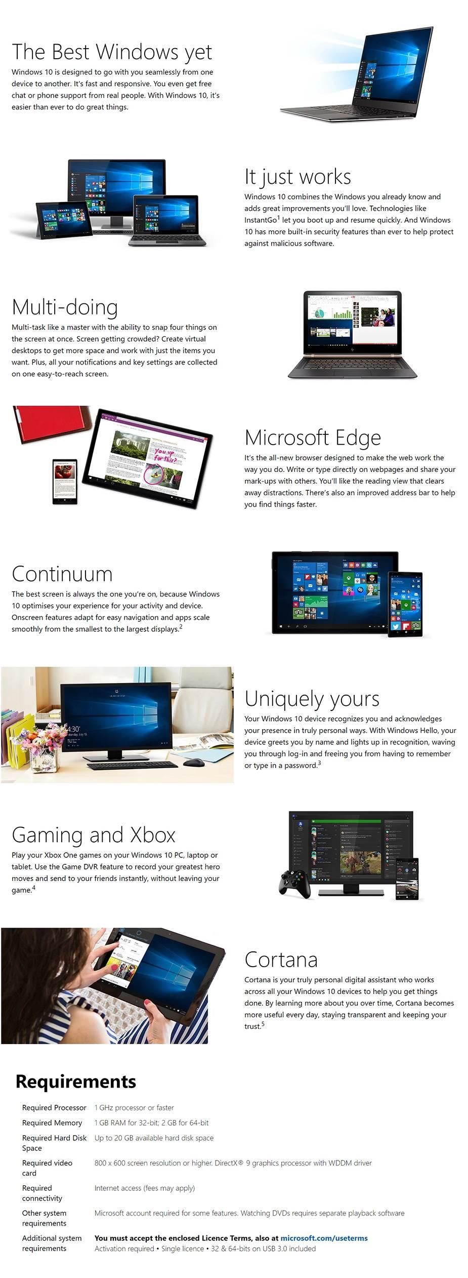 Microsoft Windows 10 Home with Creators Update 32/64-bit USB Drive - Desktop Overview 1