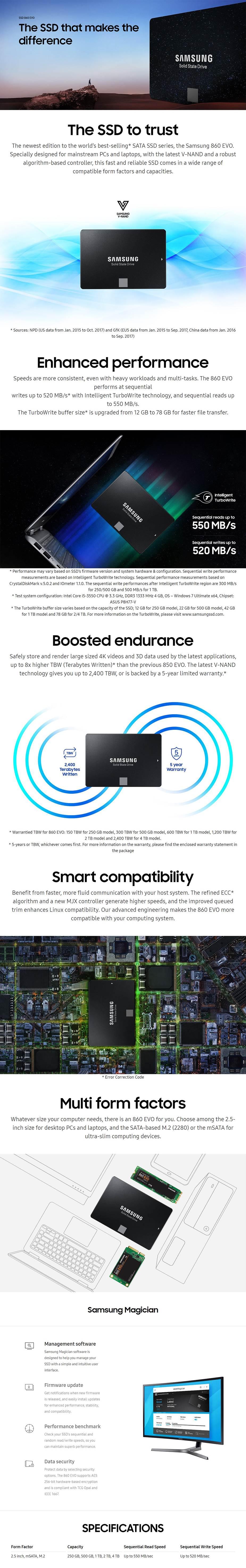 Samsung 860 Evo 250GB mSATA SATA III 6GB/s V-NAND SSD MZ-M6E250BW