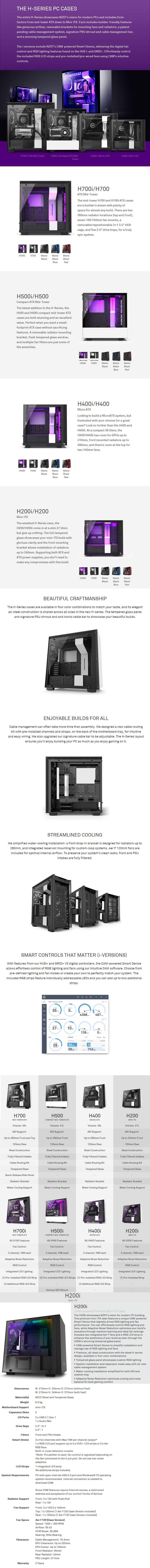 NZXT H200i Smart Tempered Glass Mini-ITX Case - Matte Black - Desktop Overview 1