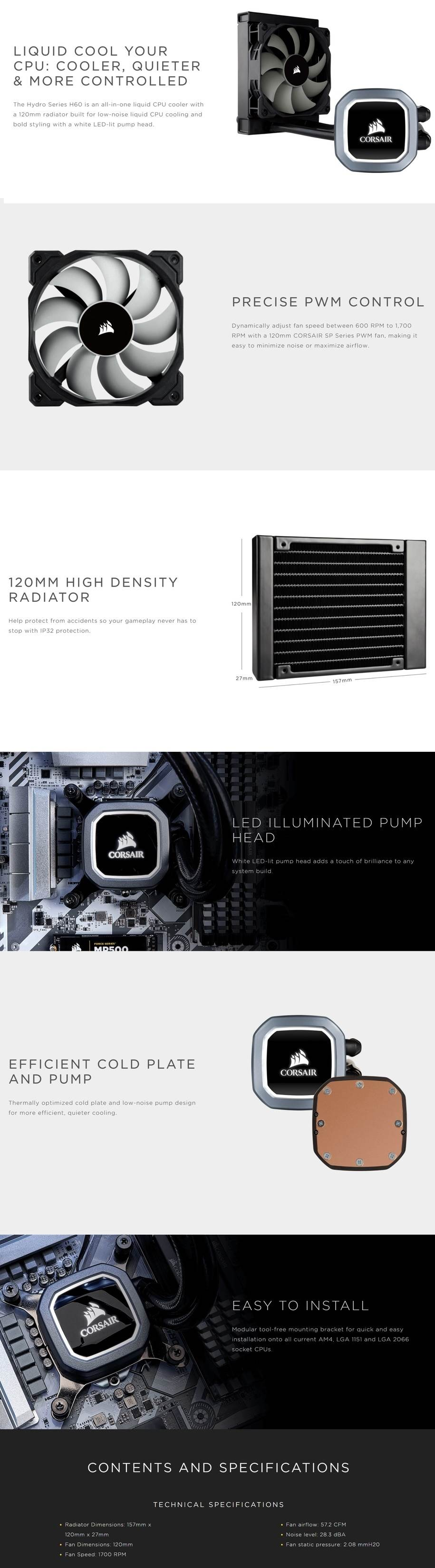 Corsair Hydro Series H60 v2 (2018) 120mm High Performance Liquid CPU Cooler - Desktop Overview 1