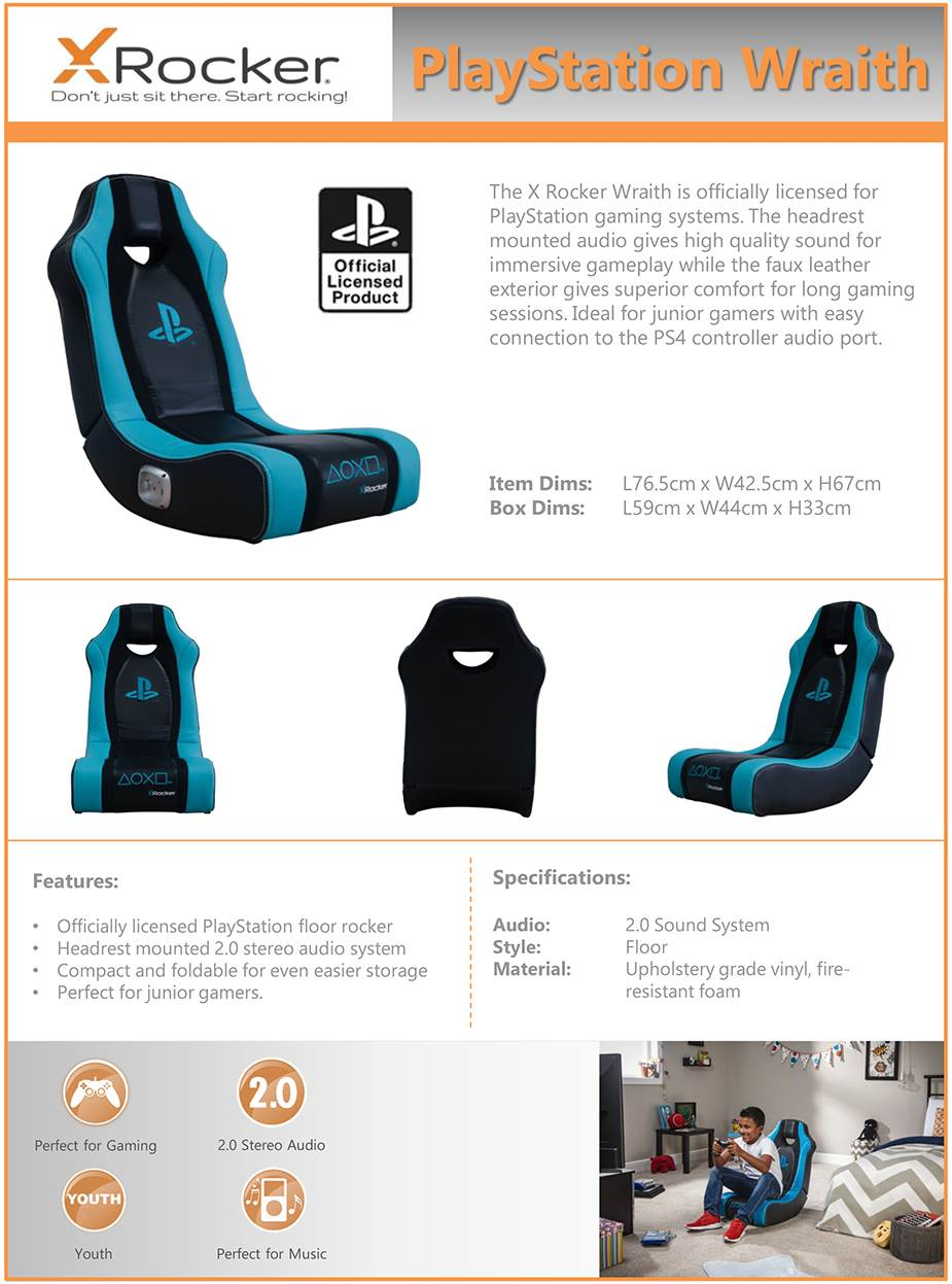 X Rocker Playstation Wraith Floor Rocker Gaming Chair