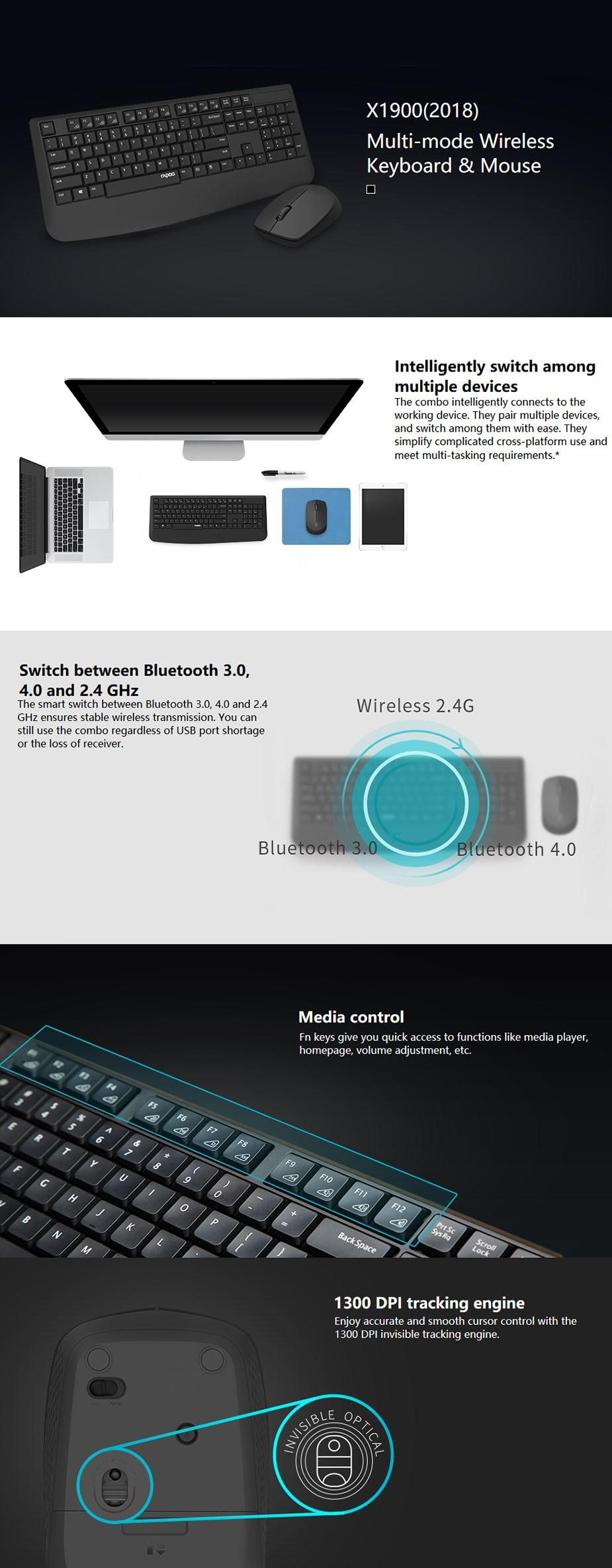 Rapoo X1900 2.4GHz Multi-Mode Wireless Keyboard & Mouse Combo - Desktop Overview 1