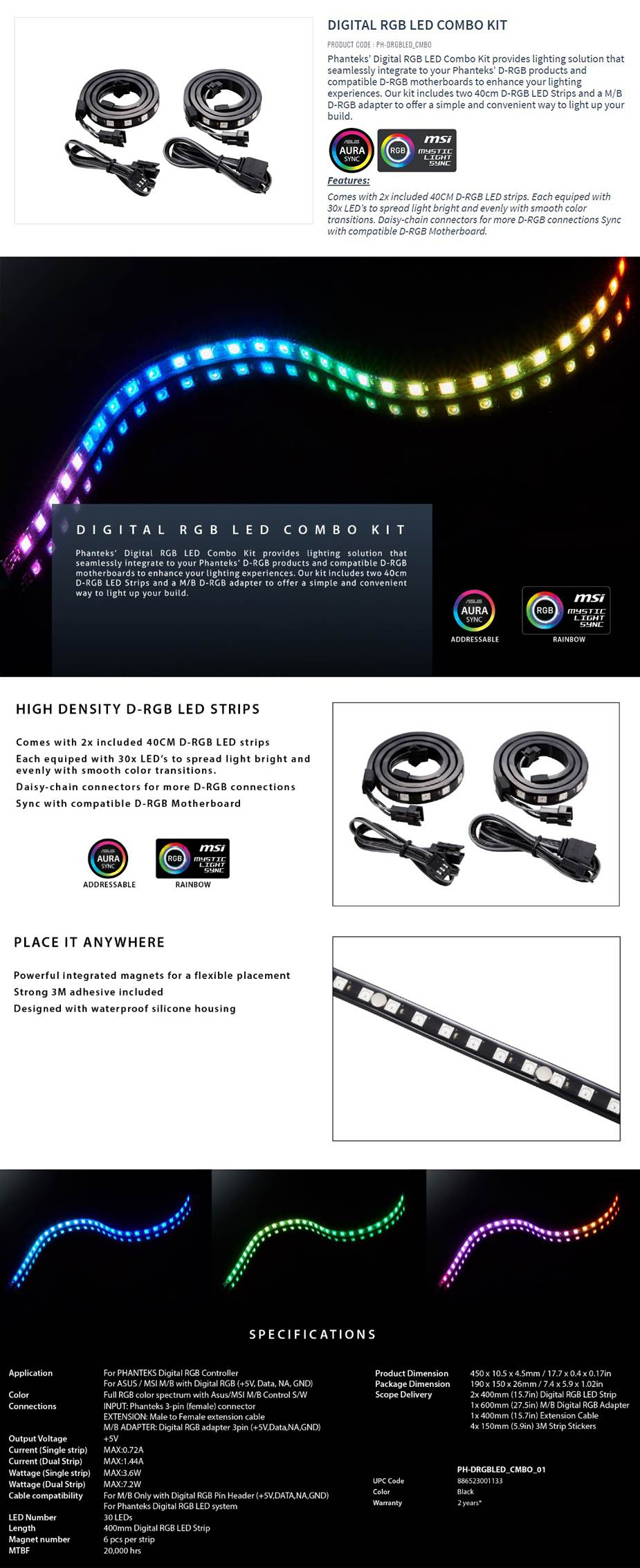 Phanteks Digital RGB LED Combo Kit Twin Pack - PH