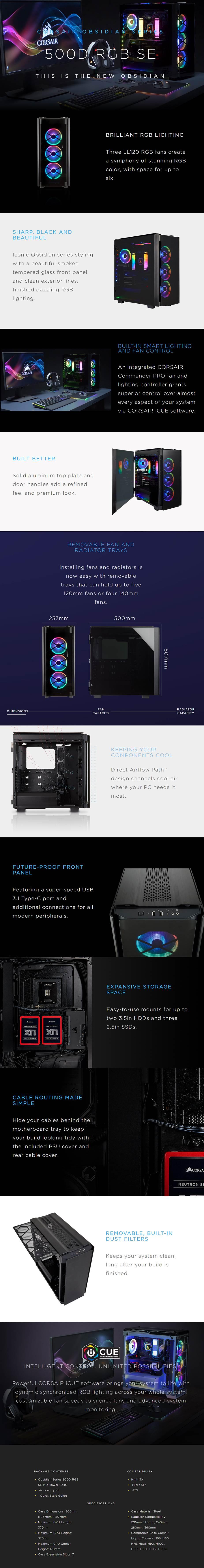 Corsair Obsidian 500D RGB SE Tempered Glass Mid-Tower ATX Case