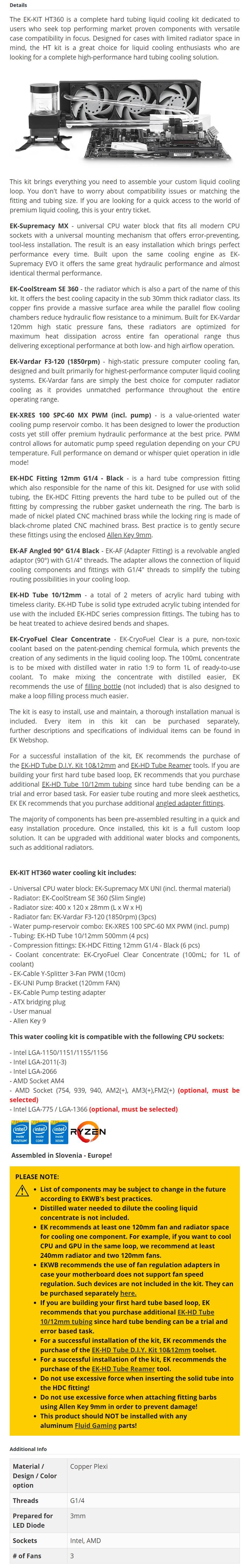 EKWB EK-KIT HT360 Hard Liquid Cooling Kit - 3830046996237