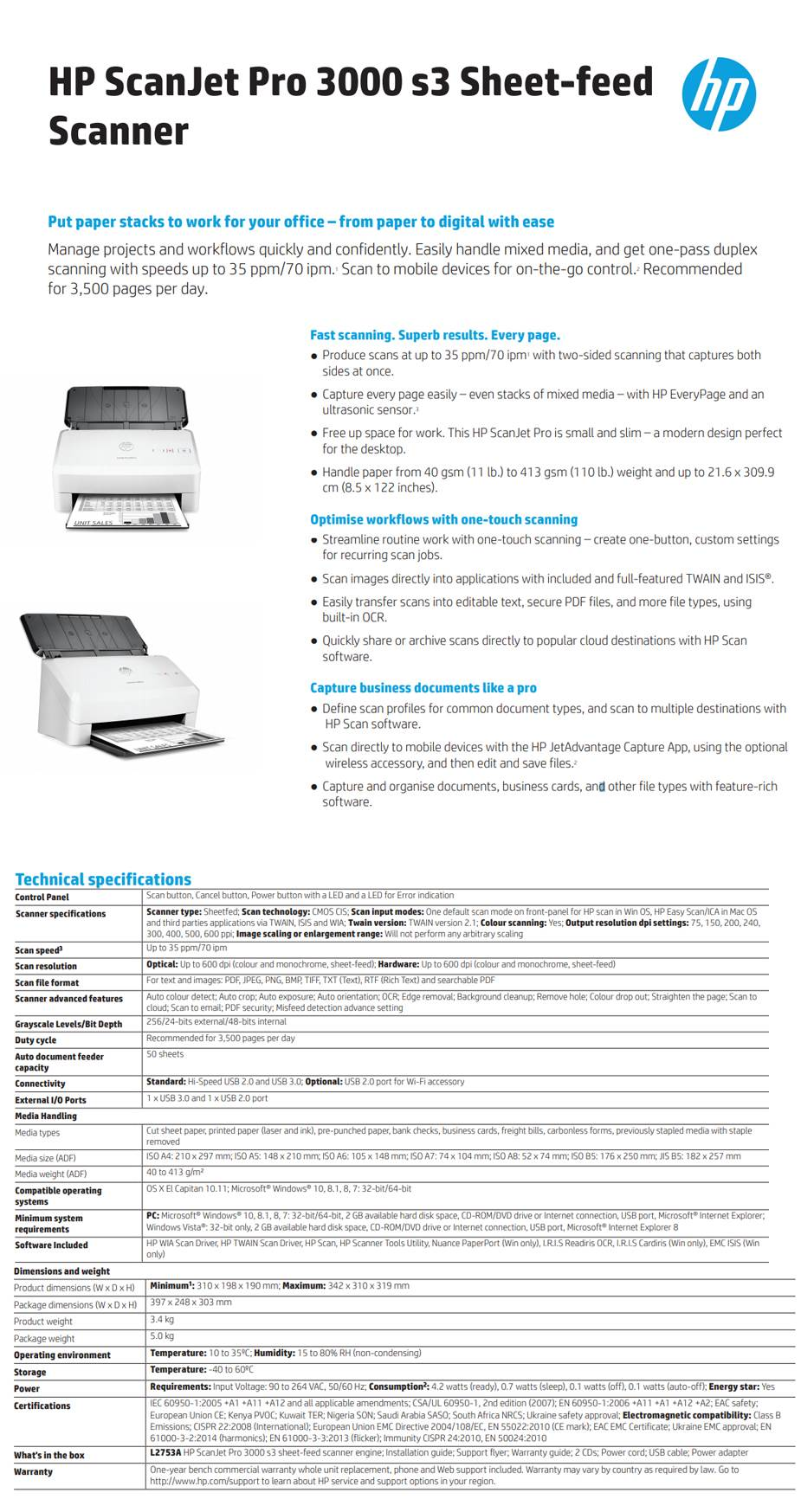 Hp scanjet pro 3000 s3 sheet feed document scanner l2753a mwave hp scanjet pro 3000 s3 sheet feed document scanner l2753a sheetfed up to 600 dpi colour and monochrome sheet feed recommended for 3500 pages per reheart Choice Image