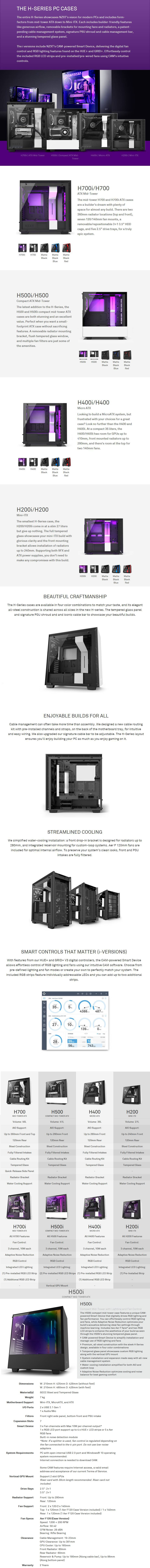 NZXT H500i Smart RGB Tempered Glass Mid-Tower ATX Case - Matte Black - Desktop Overview 1