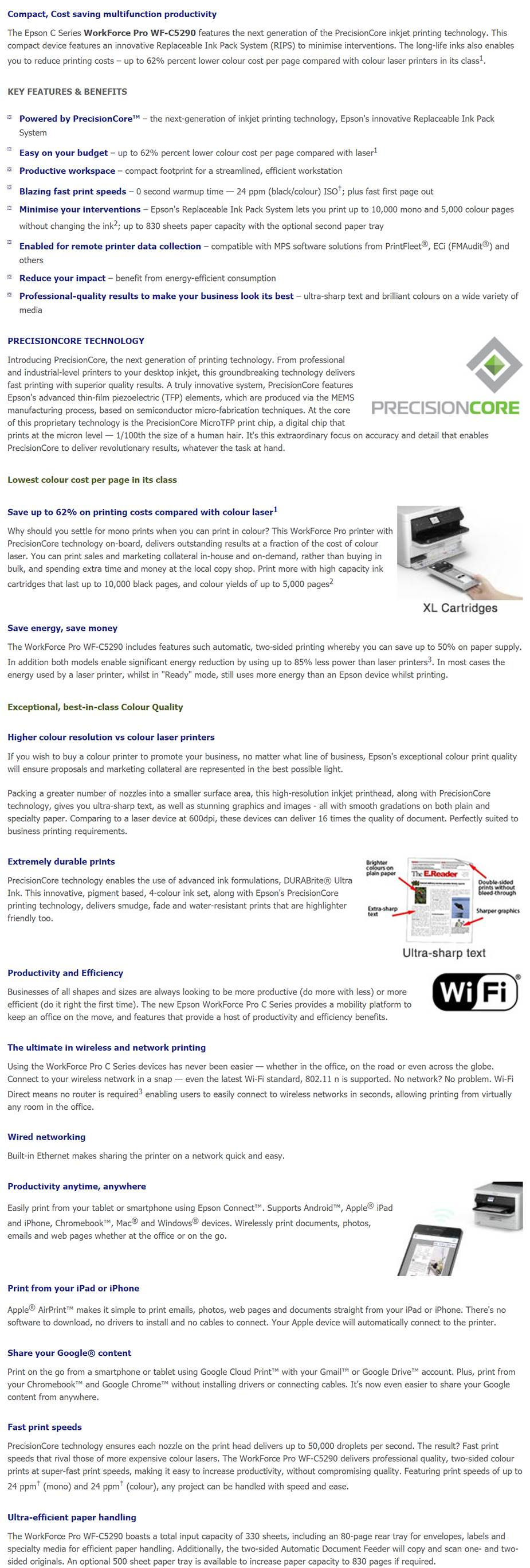 Epson WorkForce Pro WF-C5290 A4 Colour Wireless Inkjet